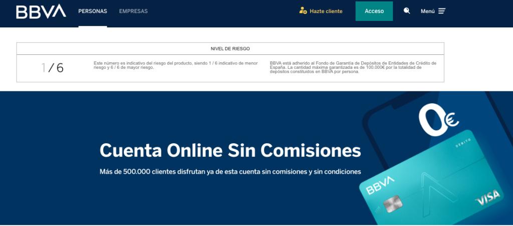 Cuenta Online del BBVA Sin Comisiones
