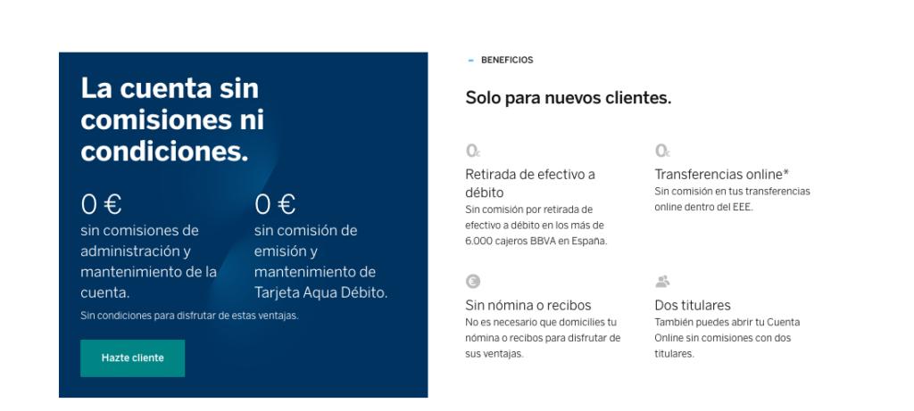0 Comisiones al abrir la cuenta bancaria en el BBVA Online