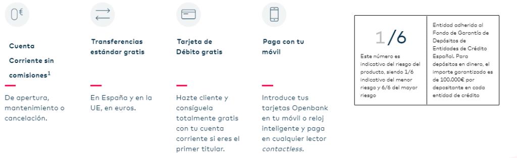 condiciones cuenta sin comisiones openbank