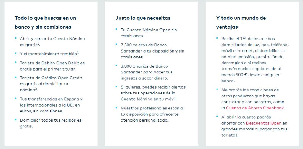 ventajas cuenta nomina openbank