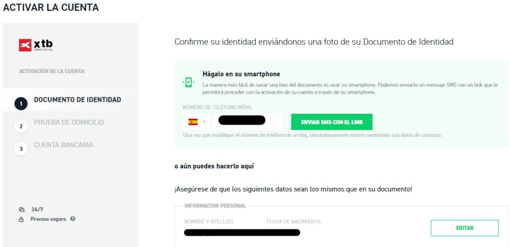 Confirma tu cuenta de XTB con el sms que recibirás en tu email