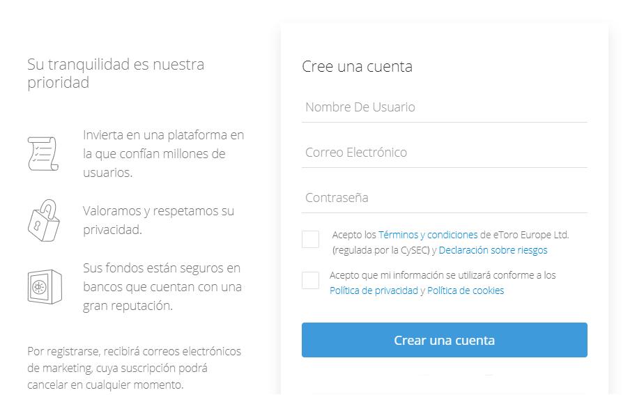 Formulario de registro en eToro