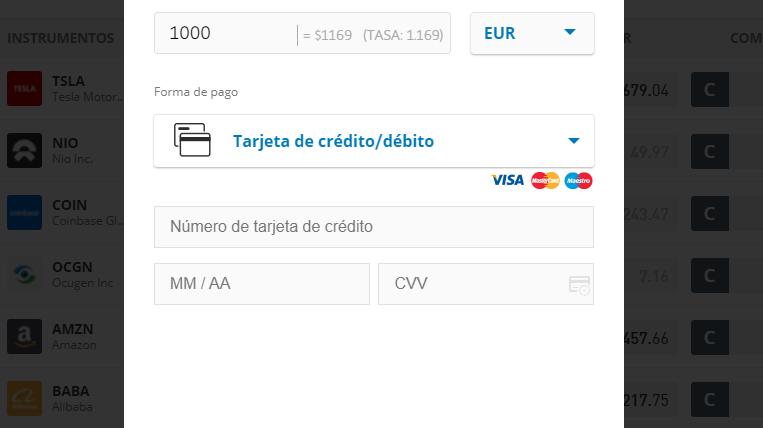 Depositar fondos en eToro