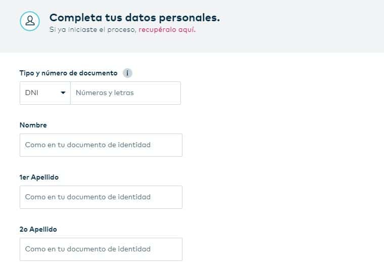 Formulario de registro Openbank