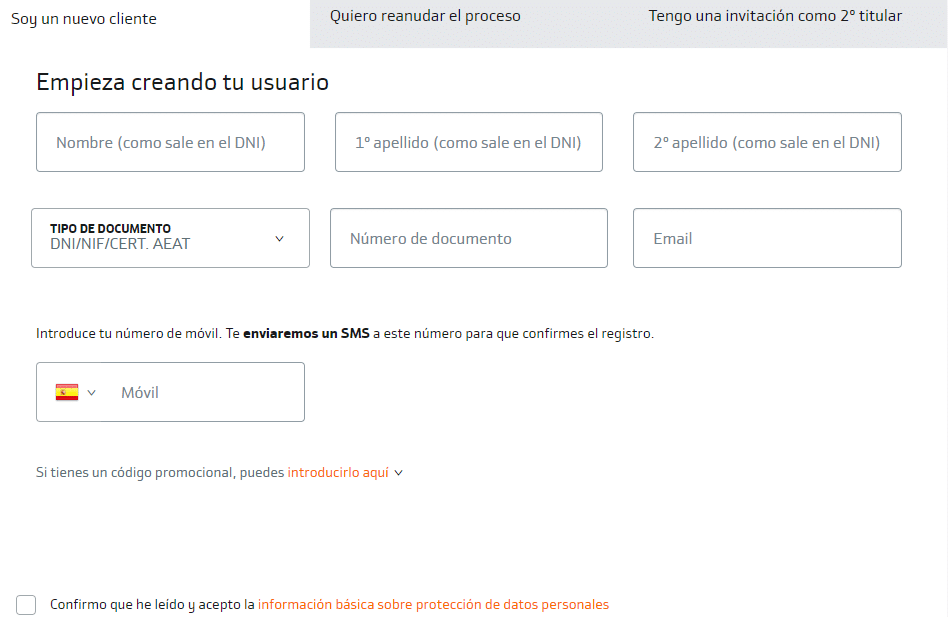 Formulario de registro de Bankinter
