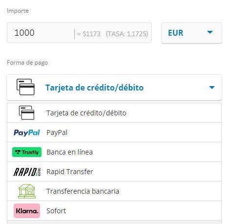 Métodos de pago aceptados por eToro