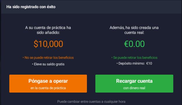 Opera con la cuenta demo de IQ Option o deposita dinero real