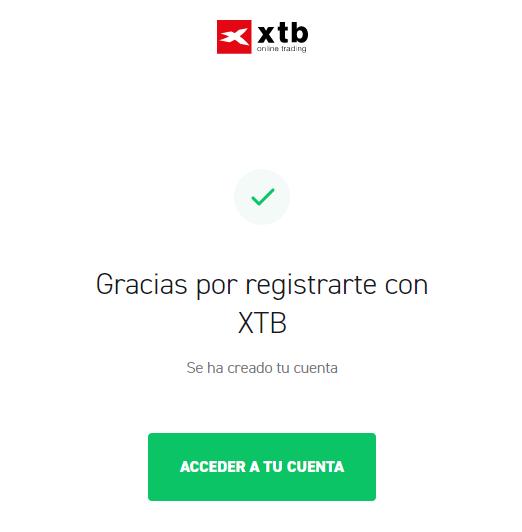 Registro exitoso en XTB