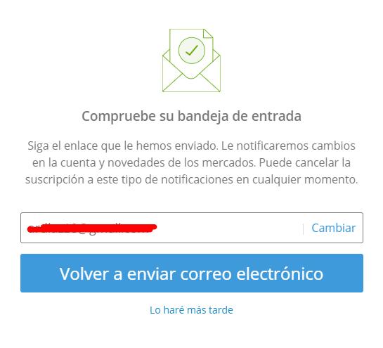 Validación de email eToro