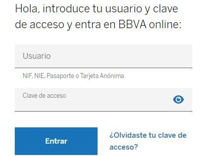 Formulario de inicio de sesión BBVA online.